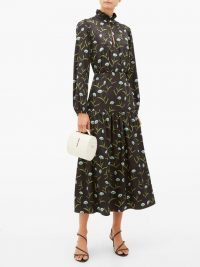 BORGO DE NOR Eugenia floral-print satin-jacquard midi dress in black