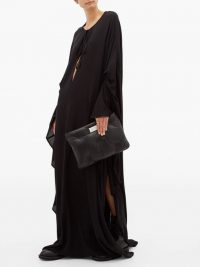 ANN DEMEULEMEESTER Ewing black cape-sleeve poplin maxi dress ~ flowing occasion dresses ~ fluid fabrics