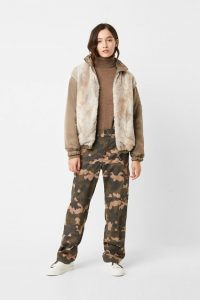 French Connection FARIN REVERSIBLE FAUX FUR BOMBER JACKET Mocha Mousse ~ furry winter jackets