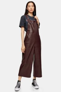 Topshop Faux Leather Dungarees in Burgundy | cropped dark-red overalls