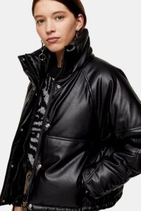 TOPSHOP Faux Leather Padded Puffer Jacket