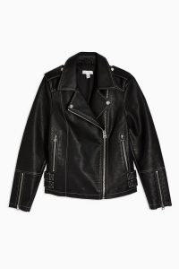 TOPSHOP Faux Leather PU Stitched Jacket Black – biker jackets