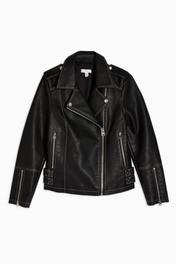 TOPSHOP Faux Leather PU Stitched Jacket Black – biker jackets