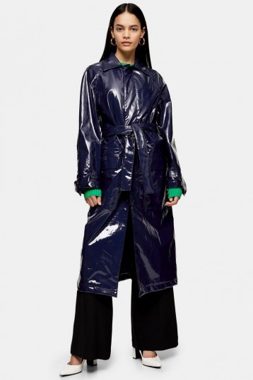 TOPSHOP Boutique Faux Leather Vinyl Trench Navy Blue
