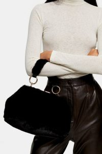 Topshop FELICITY Black Faux Fur Shoulder Bag | fluffy top handle bags