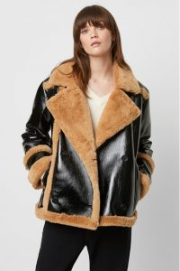 French Connection Filpa Faux Shearling Double Breasted Jacket Black Multi ~ textured winter jackets