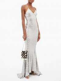 NORMA KAMALI Fishtail-hem sequinned maxi dress in silver / red carpet style event gowns