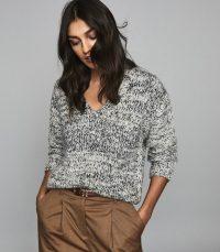 REISS FLO TEXTURED V-NECK JUMPER GREY ~ essential winter knitwear