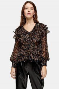 TOPSHOP Floral Glitter Ruffle Blouse / black ruffled blouses