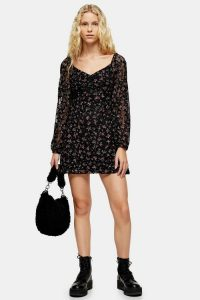 TOPSHOP Floral Lace Gypsy Mini Dress Black