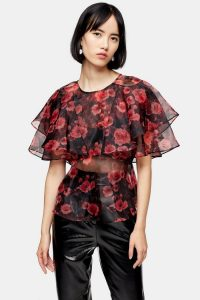 Topshop Floral Print Ruffle Sheer Organza Blouse in pink – tiered tops