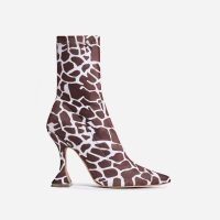 EGO Flore Pyramid Heel Ankle Boot In Giraffe Print Faux Suede