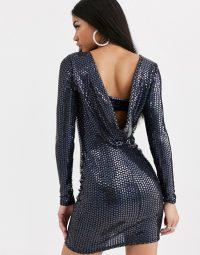 Flounce London cowl back mini dress in black metallic