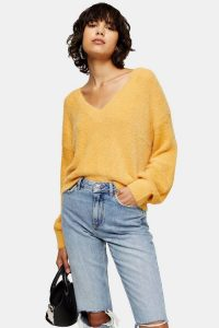 Topshop Fluffy V Crop Jumper in Mustard | slouchy yellow sweater