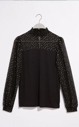 OASIS FOIL EMBELLISHED BLOUSE BLACK / high nick blouses