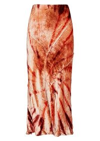 FREE PEOPLE Serious Swagger tie-dyed velvet midi skirt in red