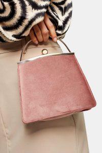 Topshop GARLAND Nude Velvet Frame Bag | pink vintage style handbag