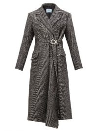 PRADA Gathered-waist raw-edge wool-blend coat in black