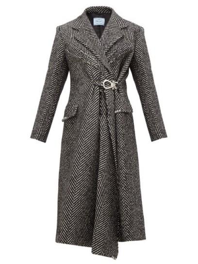 PRADA Gathered-waist raw-edge wool-blend coat in black