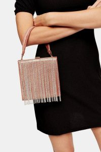 Topshop GATSBY Nude Boxy Diamante Bag | small fringed handbag