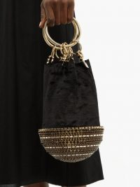 ROSANTICA BY MICHELA PANERO Ghizlan crystal-base velvet clutch bag in black / luxe event handbag