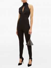 Gianni Versace 1991 high-neck stretch jumpsuit in black ~ glamorous vintage all-in-one