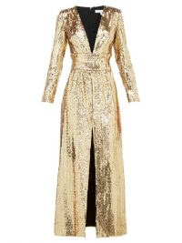 BORGO DE NOR Gisele V-neck sequinned maxi dress in gold / event glamour / glamorous gowns