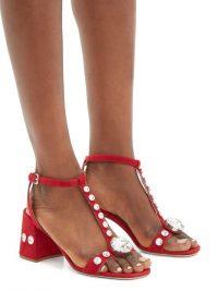 MIU MIU Gobstopper crystal-embellished red suede sandals | chunky vintage look sandal