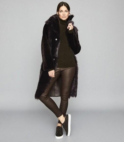 Reiss GOLDIE LEATHER LEGGINGS CHOCOLATE – stylish seasonal skinnies - flipped