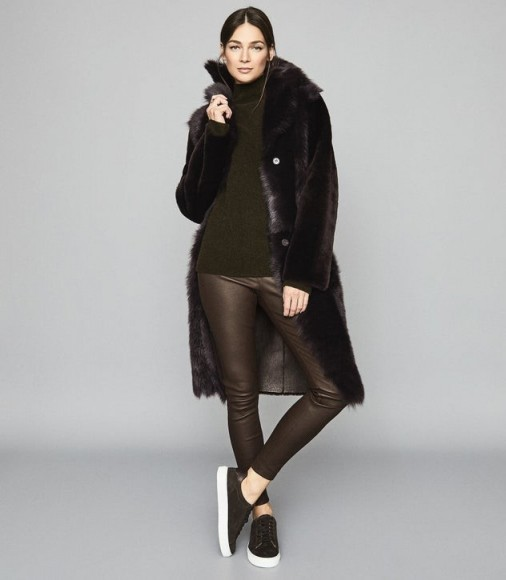 Reiss GOLDIE LEATHER LEGGINGS CHOCOLATE – stylish seasonal skinnies