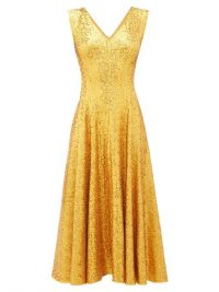 NORMA KAMALI Grace gold sequinned midi dress / shimmering fit and flare party dresses