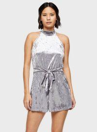 MISS SELFRIDGE Grey Highneck Velvet Playsuit – sleeveless high neck playsuits
