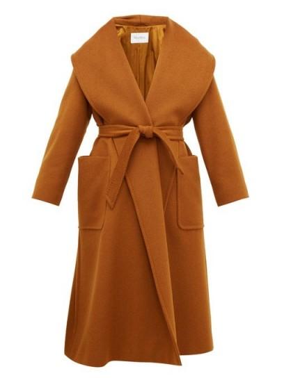 MAX MARA Gufo brown wide lapel coat