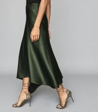 REISS HARLEY ASYMMETRIC SATIN MAXI SKIRT GREEN ~ fluid fabric skirts