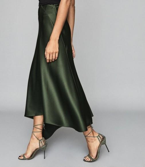 REISS HARLEY ASYMMETRIC SATIN MAXI SKIRT GREEN ~ fluid fabric skirts