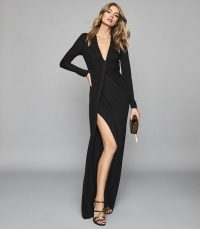 REISS HARLYN PLUNGE TWIST FRONT MAXI DRESS BLACK ~ effortlessly glamorous event gown