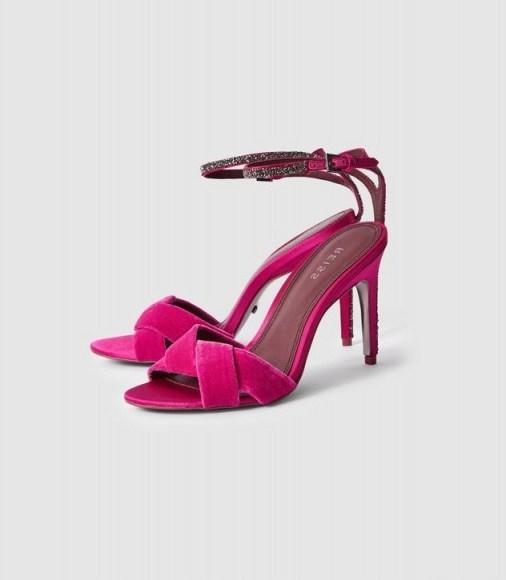 Reiss HAYDEN VELVET CROSS FRONT SANDALS PINK – bright embellished party heels - flipped