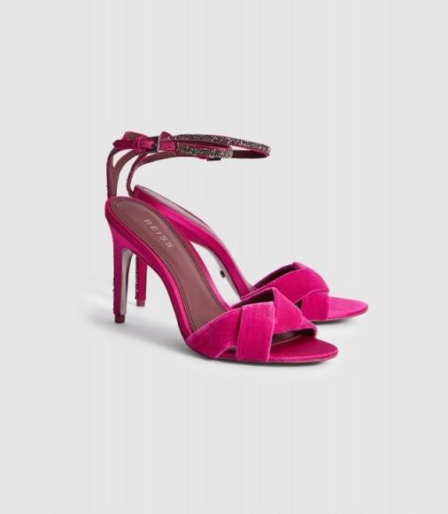 Reiss HAYDEN VELVET CROSS FRONT SANDALS PINK – bright embellished party heels