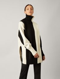 Joseph High Neck Bicolour Knit in Ivory/Black | stylish chunky knits