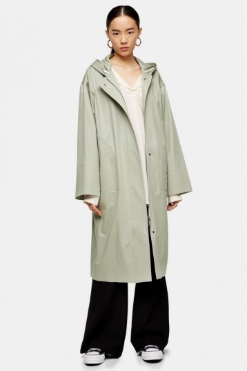 Topshop Boutique Hooded Parka Jacket in Green