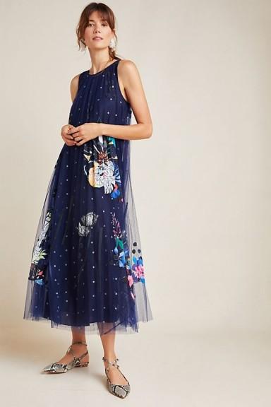Geisha Designs Ide Applique-Tulle Dress Navy
