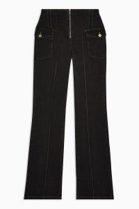 Topshop IDOL Washed Black Flare Jeans | high waisted front seamed flares