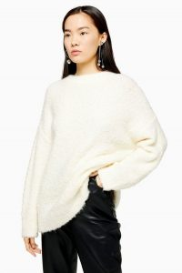 Topshop Ivory Knitted Boucle Longline Jumper | neutral longline crew neck sweater