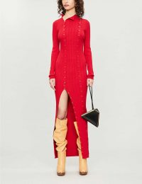NEW SEASON JACQUEMUS Maille button-embellished ribbed knitted maxi dress in red ~ uber stylish knitwear