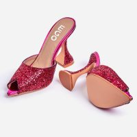 EGO Jetset Peep Toe Pyramid Heel Mule In Pink Glitter – going out glamour