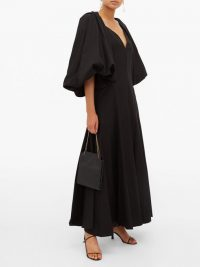 KHAITE Joanne balloon-sleeve cotton maxi dress in black ~ open back evening dresses
