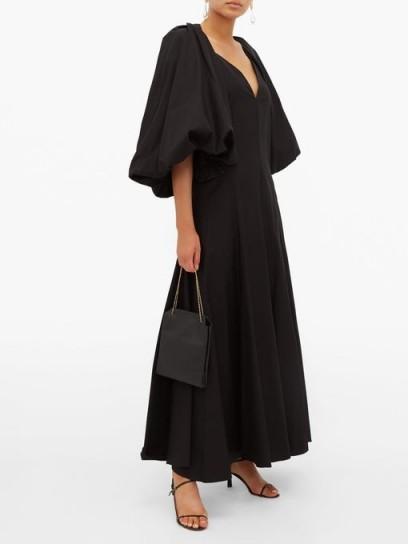 KHAITE Joanne balloon-sleeve cotton maxi dress in black ~ open back evening dresses