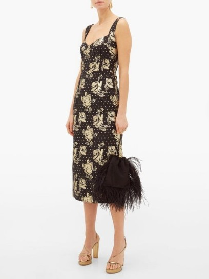 EMILIA WICKSTEAD Juditella floral-brocade pencil dress in black