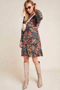 Kachel Gula Floral-Print Dress Black Motif