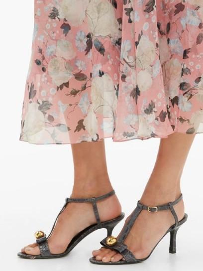 ERDEM Kamira grey crocodile-embossed leather T-bar sandals ~ strappy evening heels